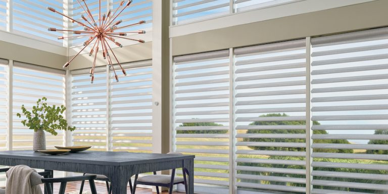 pirouette window shadings with fabrics from the alustra collection Chicago IL