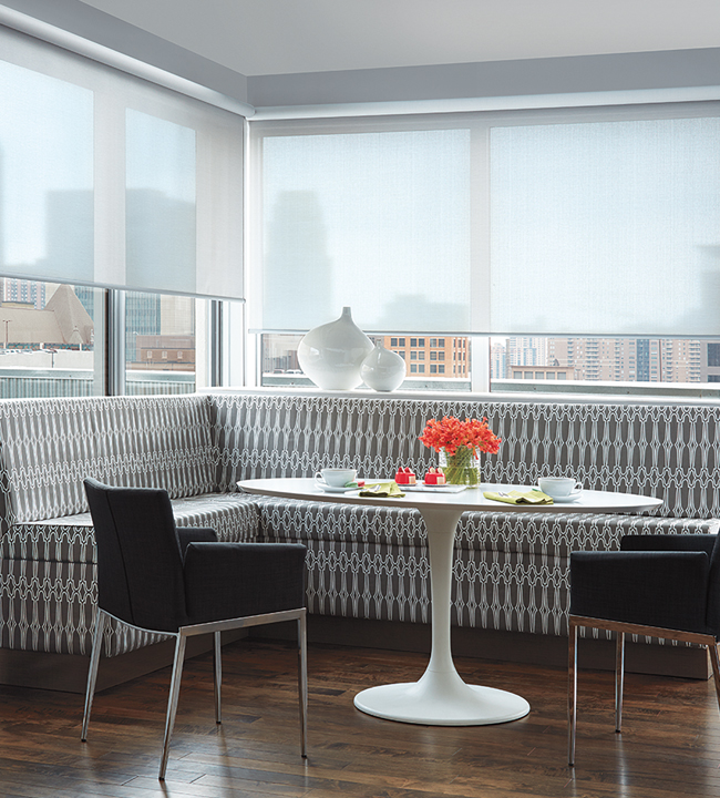 Floor To Ceiling Roller Shades Large Window Solutions Hunter Douglas Chicago 60614