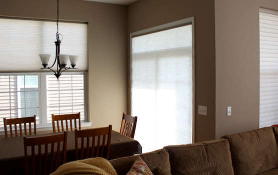 white cellular blinds in traditional dining room in Naperville IL