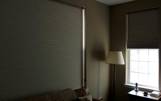 room darkening cellular shades in Naperville home