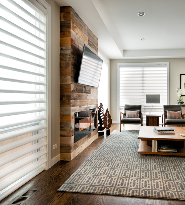 Pallet Wall With Floor To Ceiling Blinds And Shades Large Window Solutions Pirouette Hunter Douglas