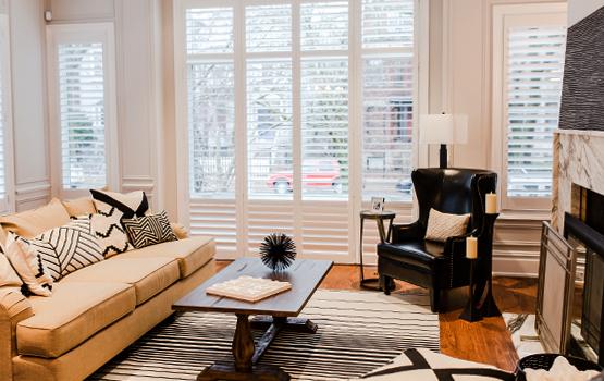 Hunter Douglas shutters living room Naperville 60540