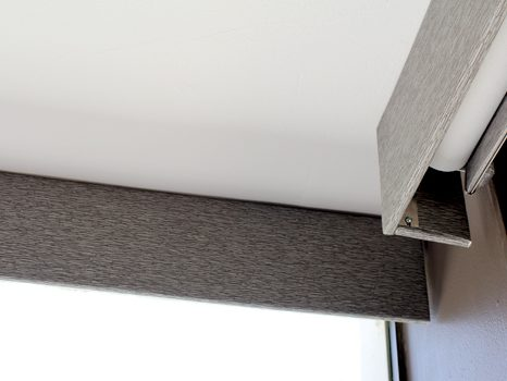 corner windows with square roller shade fabric valances in Chicago IL
