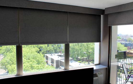 blackout roller shades in west facing windows Chicago IL