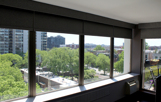 blackout roller shades in Chicago condo wall to wall windows