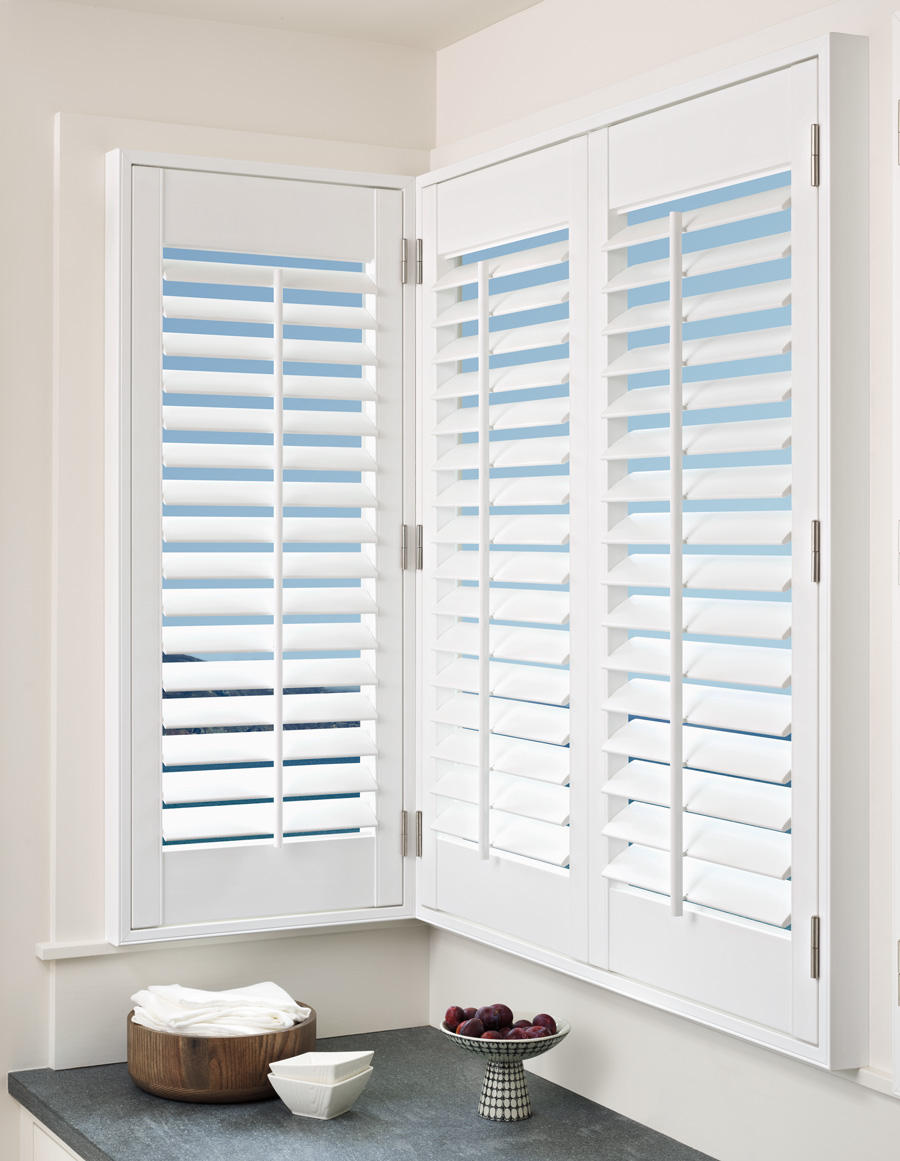 Best Plantation Shutters Corner Fit Front Tilt Palm Beach By Skyline Window Coverings Skyline Window Coverings