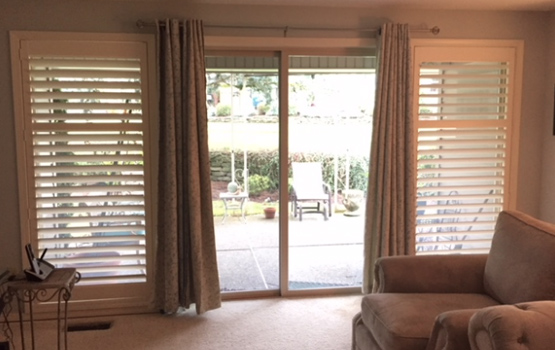 plantation shutters large windows with drapery panels for sliding glass doors