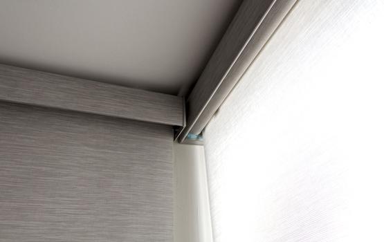 corner mount roller shades floor to ceiling windows Naperville IL