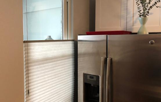 Window Treatments Chicago Honeycomb shade top down bottom up kitchen window Hunter Douglas Chicago 60611