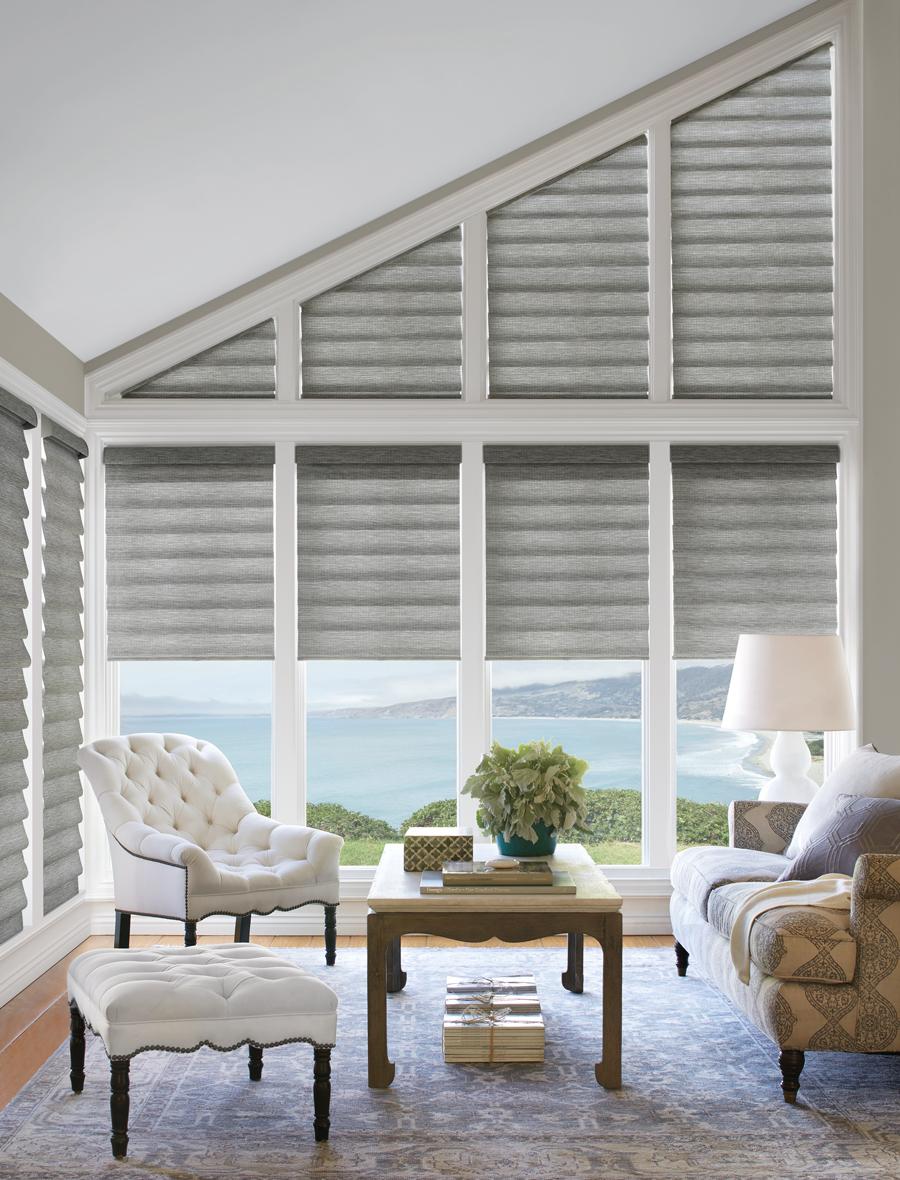 Gray White Ving Room Vignette Roman Shades Hunter Douglas By Skyline