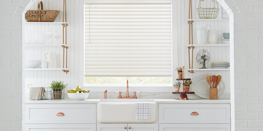 shades-of-white-kitchen-with-copper-hunter-douglas-blinds-by ... on white granite for kitchens, white cabinets for kitchens, white curtains for kitchens, white paint for kitchens, white furniture for kitchens, white ceramic tile for kitchens,