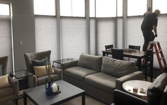 living room roller shades david ruff client testimonial Hunter Douglas Chicago 60540