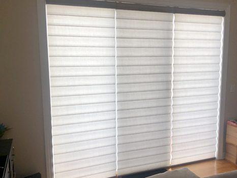 tall sliding glass door pirouette window shades Hunter Douglas Chicago 60614