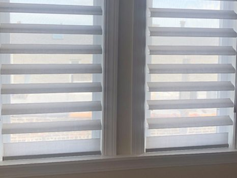 pirouette window shades on double windows by Hunter Douglas Chicago 60611