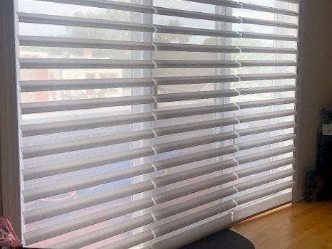 sliding glass door pirouette window shades Hunter Douglas Chicago 60654