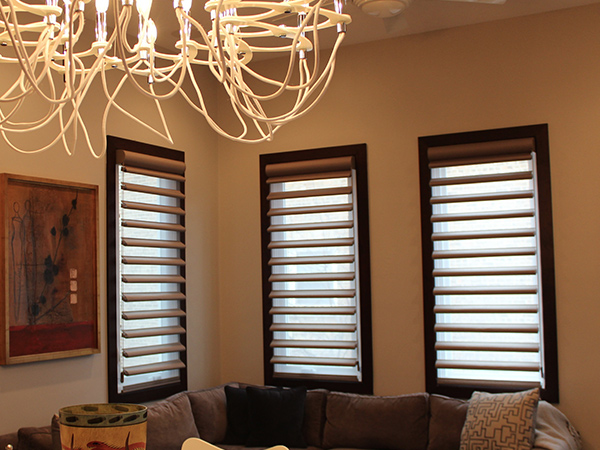 living room with white walls and hunter douglas blackout pirouette window shades in Portland 97201