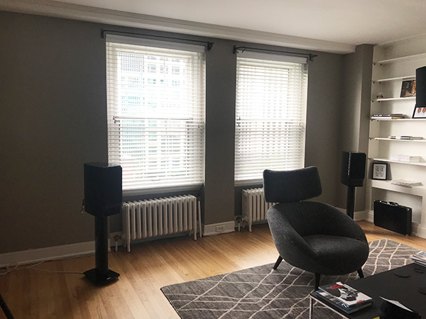 living room with gray walls with hunter douglas everwood collection blinds in Chicago 60611