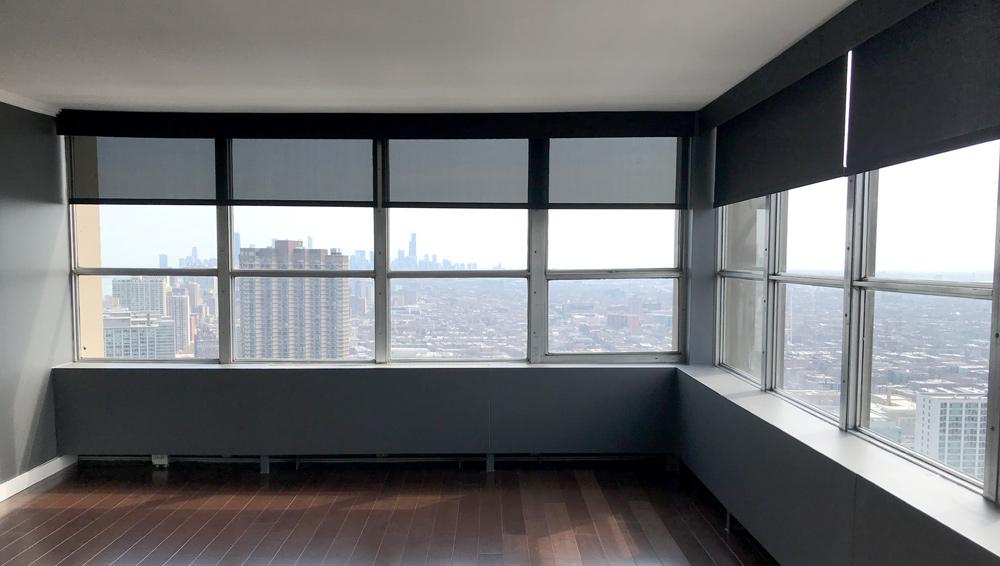 black screen shades in Chicago IL condo
