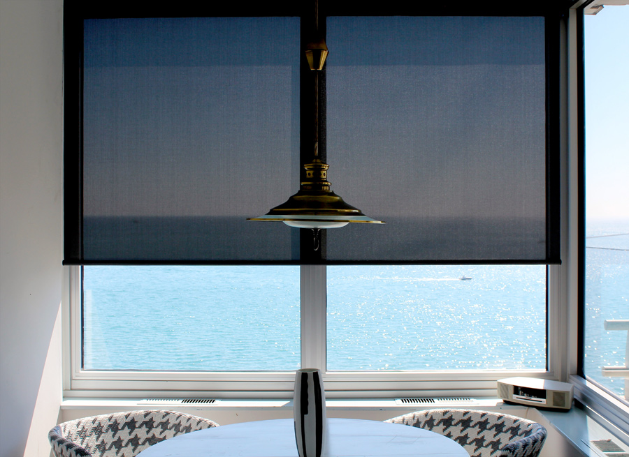 black screen roller shades over lake Michigan in Chicago IL