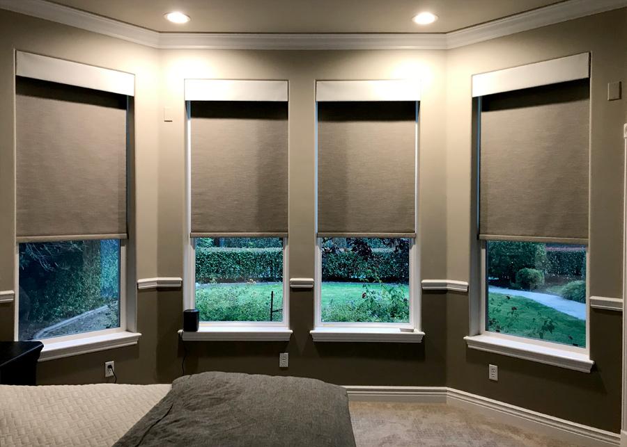 room darkening custom roller shades Chicago 60657