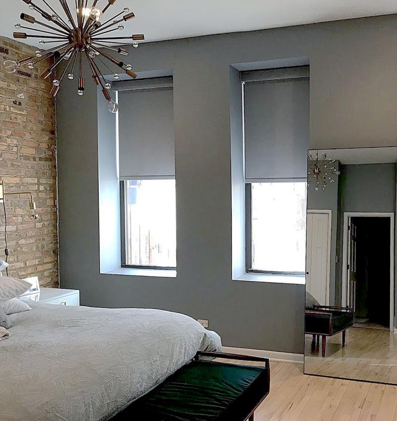 chicago bedroom with room darkening roller shades