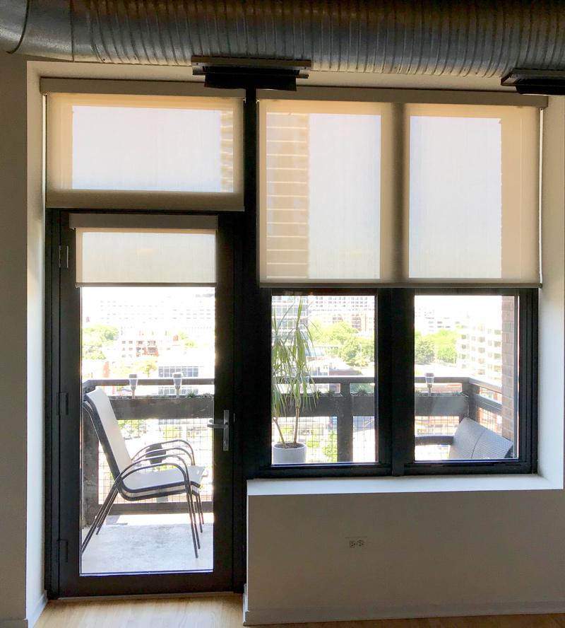 glass door roller shades patio door Chicago IL