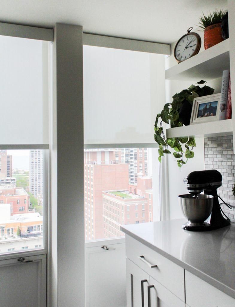Chicago kitchen with white roller shades