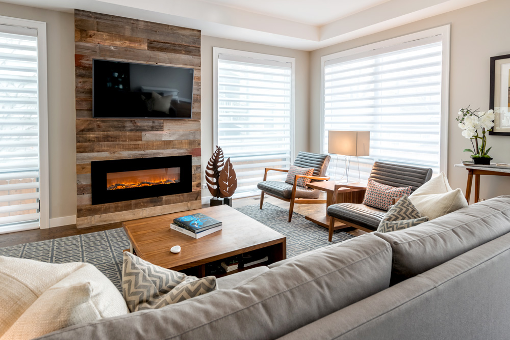 designer living room with large windows covered with white window shades in Chicago IL