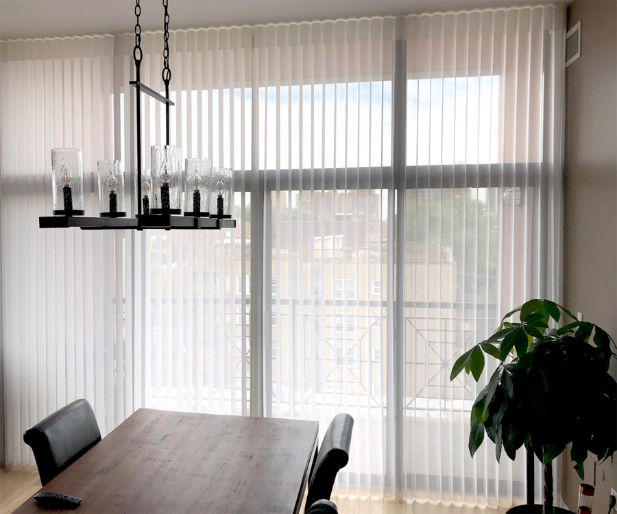 luminette sheer shades for sliding glass doors in Chicago IL home