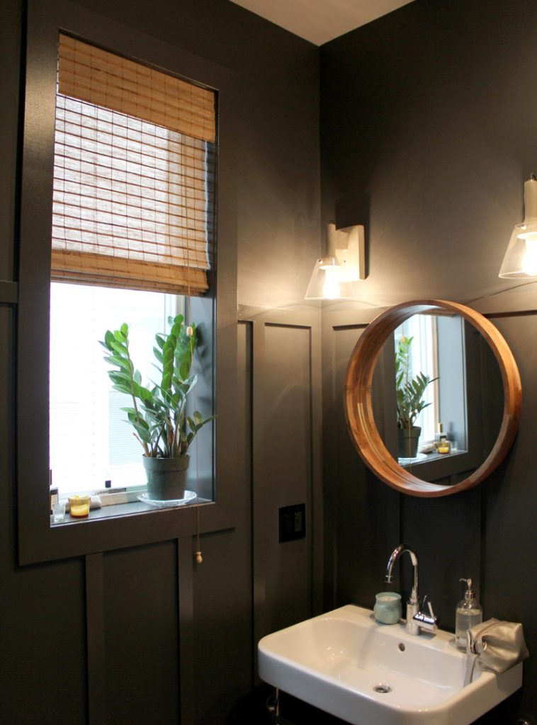 dark bathroom with natural colored woven shades Hinsdale IL