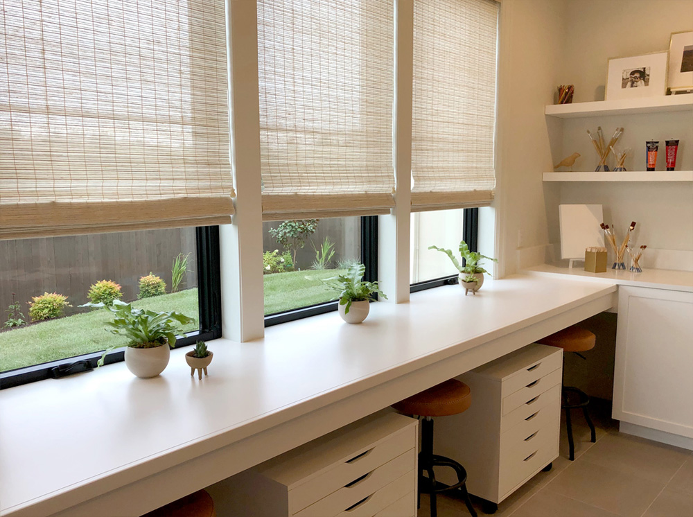 remote learning station with woven wood shades in Naperville IL