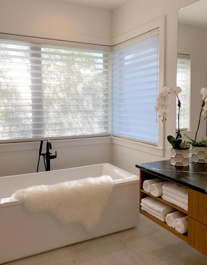 contemporary bathroom with sheer window shades in Vancouver WA