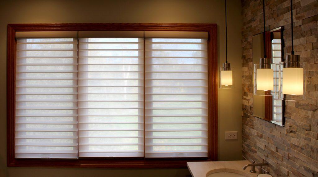 silhouette shades on three section windows in Portland OR bathroom
