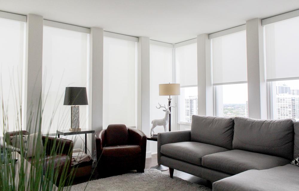 white screen roller shades on Chicago condo windows
