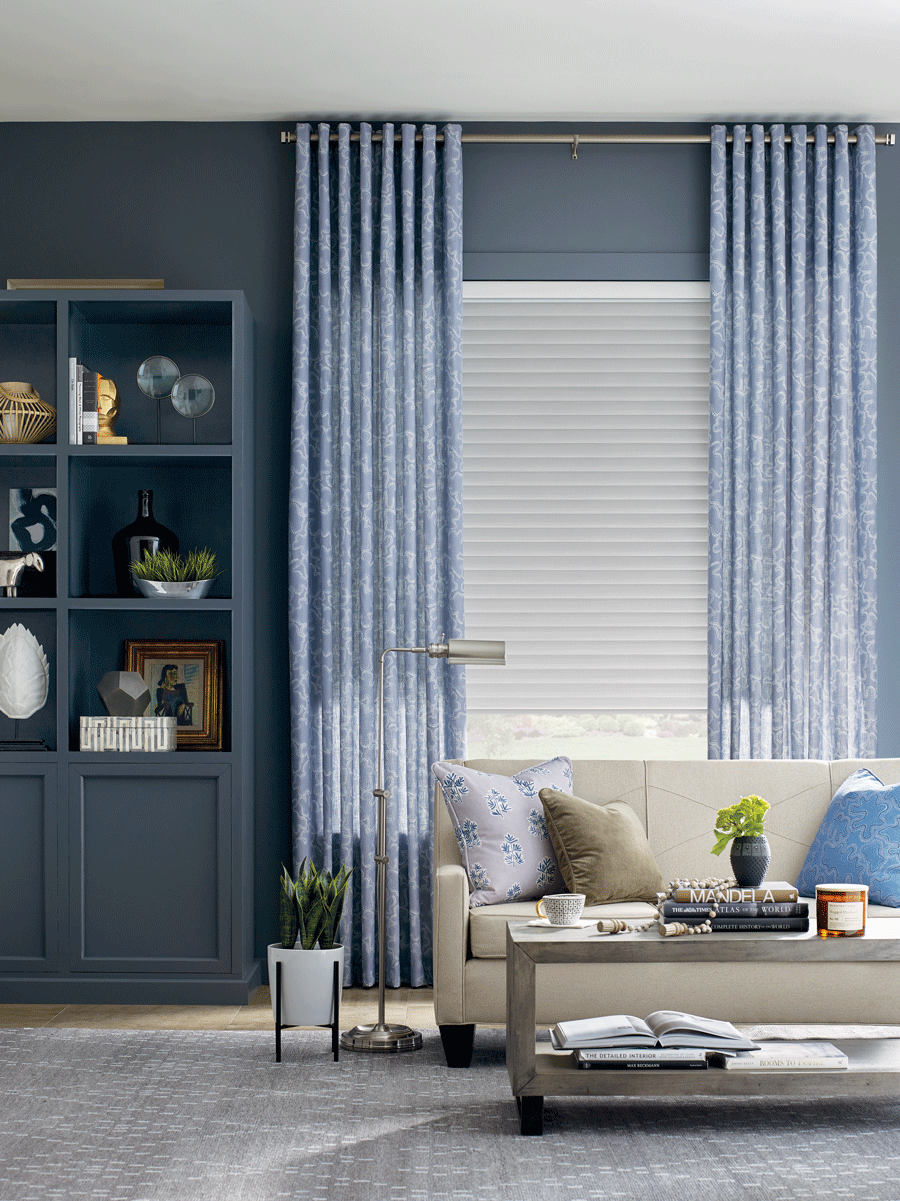 living room with blue color scheme layer window treatments chicago skyline window treatments