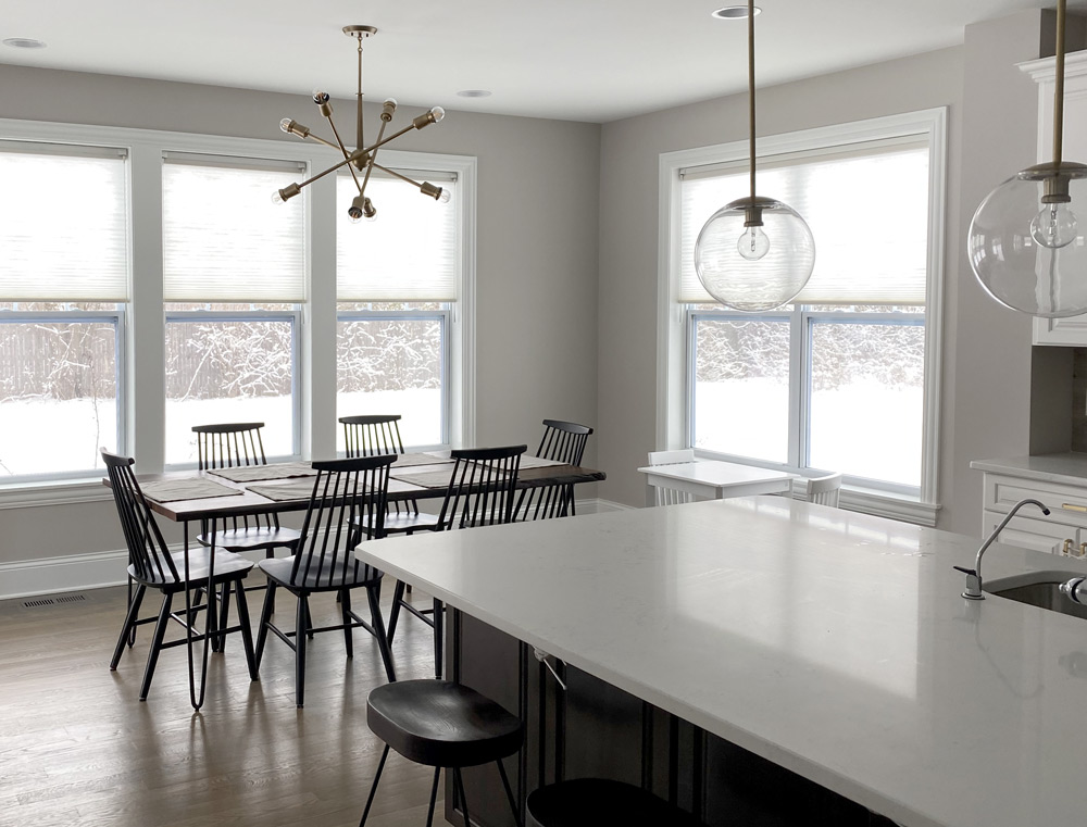 duette honeycomb shades on kitchen windows in Naperville IL