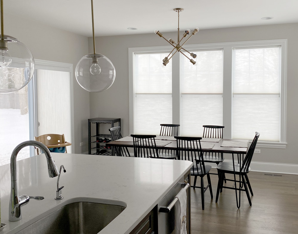 kitchen with light filtering dual shades in Chicago IL