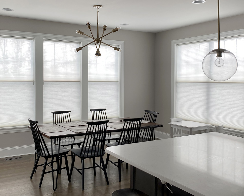 eat in kitchen wall to wall windows covered with dual shades in Hinsdale IL