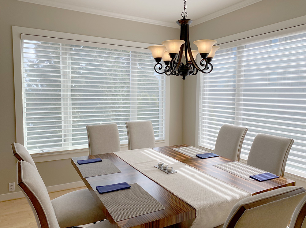 corner of dining room with white silhouette sheer shades in Naperville IL