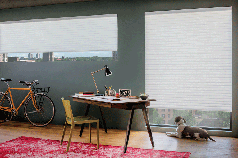 Energy efficient shades help to block out light in your home office.