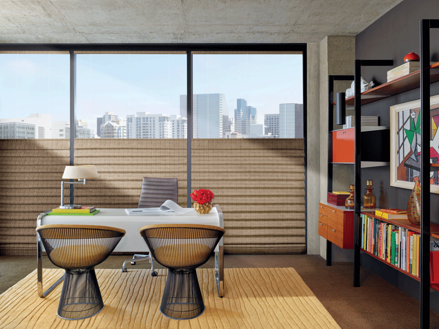 Brown top-down bottom-up shades in your home office.