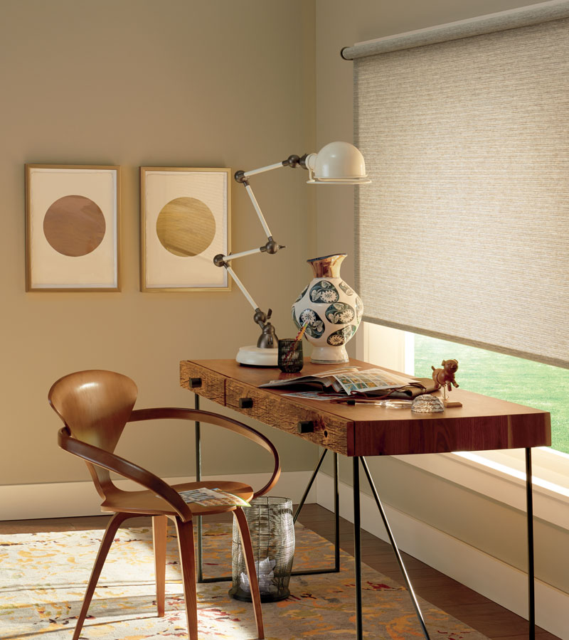 woven roller shades in home office in Naperville IL