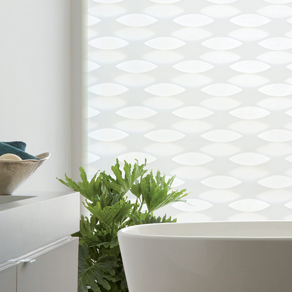 white designer banded shades layered for geometric patterns Portland OR