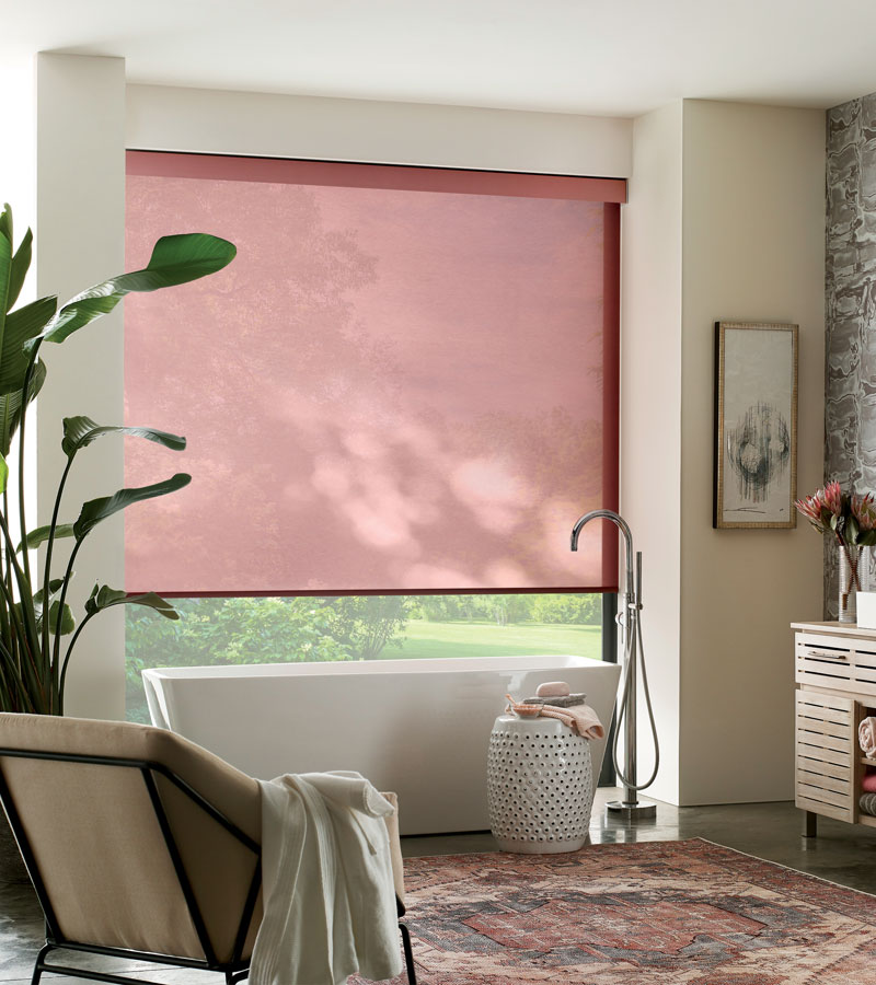 red roller shades Chicago 60611