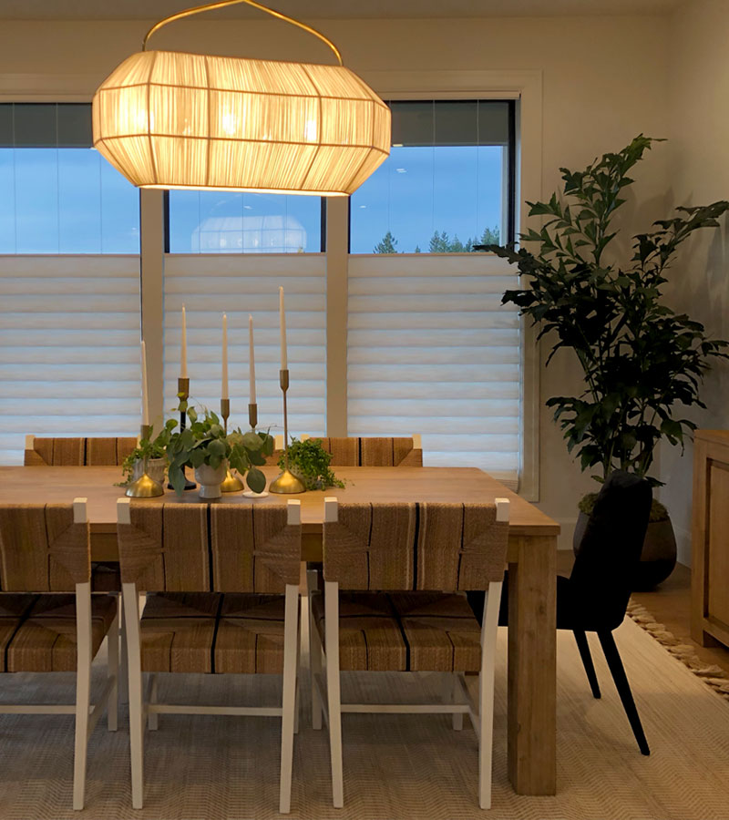 top down bottom up white roman shades in Chicago dining room