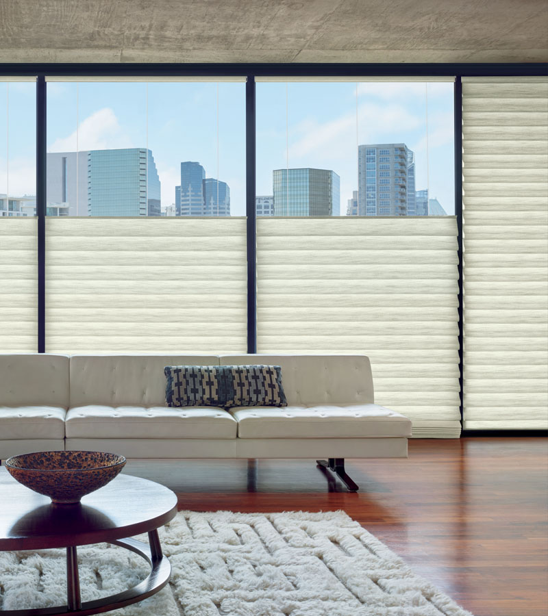 top down roman blinds on large windows in Chicago IL