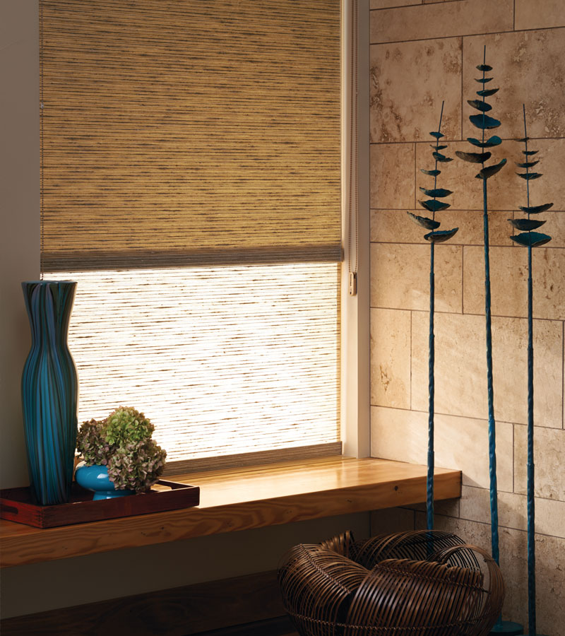dual roller shades with woven textures fabrics in Vancouver WA