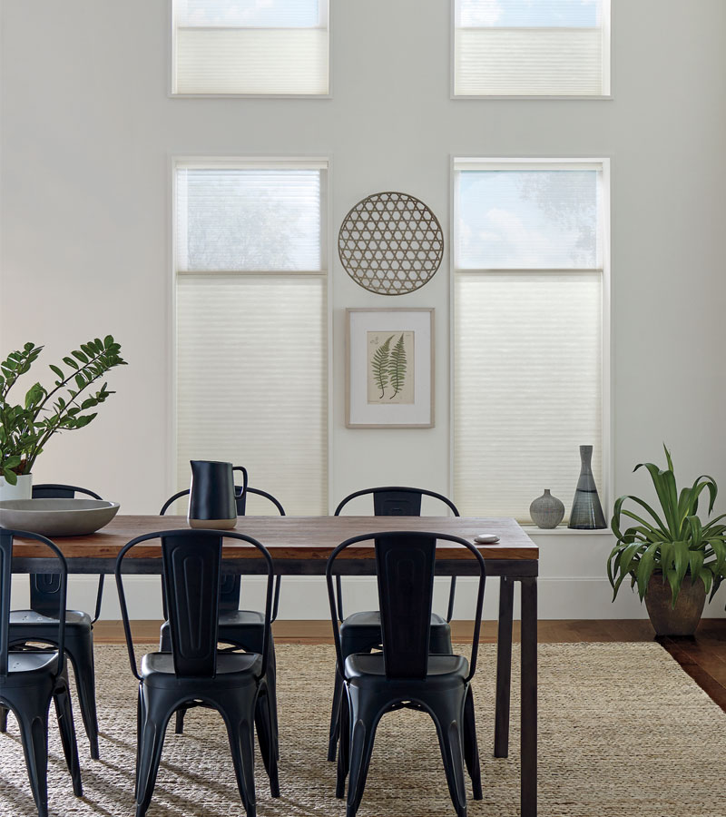 white dining room industrial furnishings with top down cellular shades in Portland OR