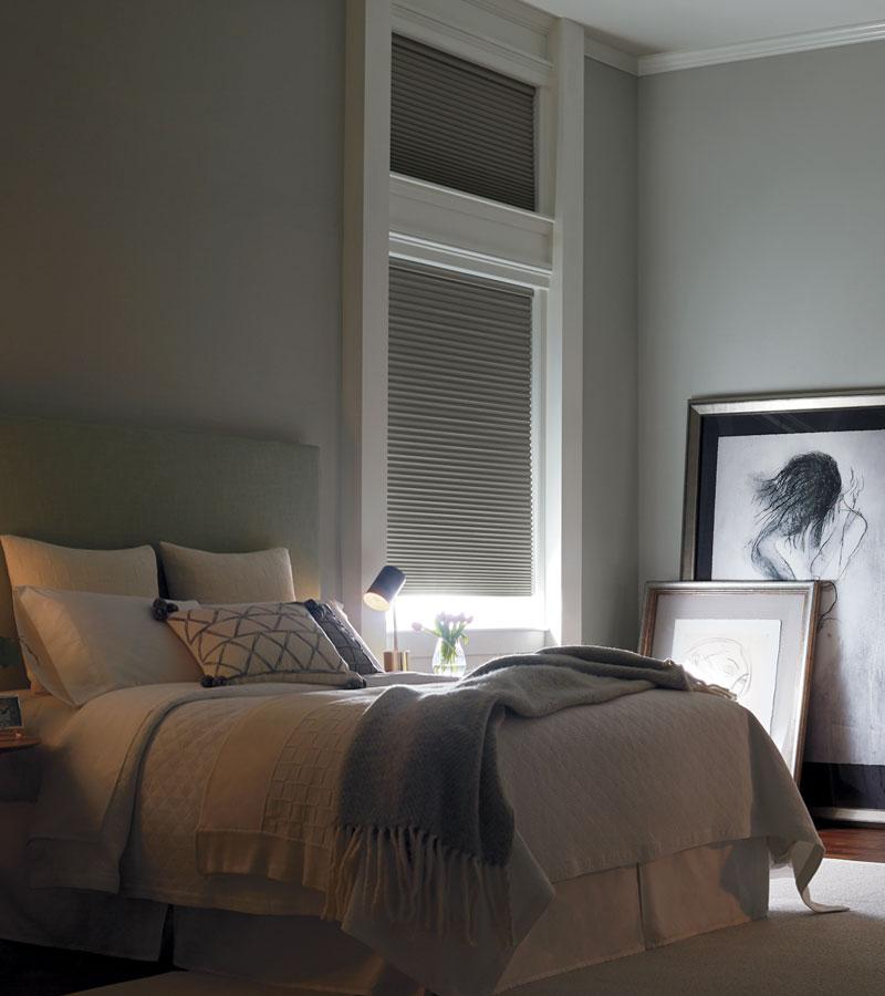 gray room darkening cellular blinds in Chicago IL bedroom