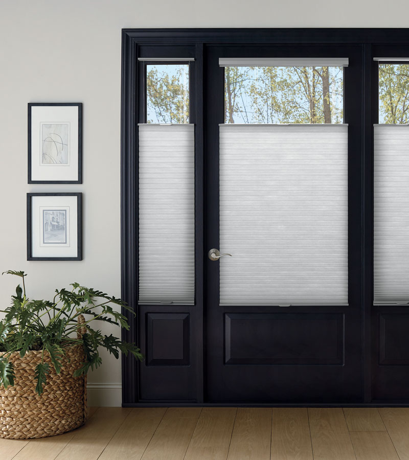 entryway door with windows covered with top down honeycomb shades in Chicago IL